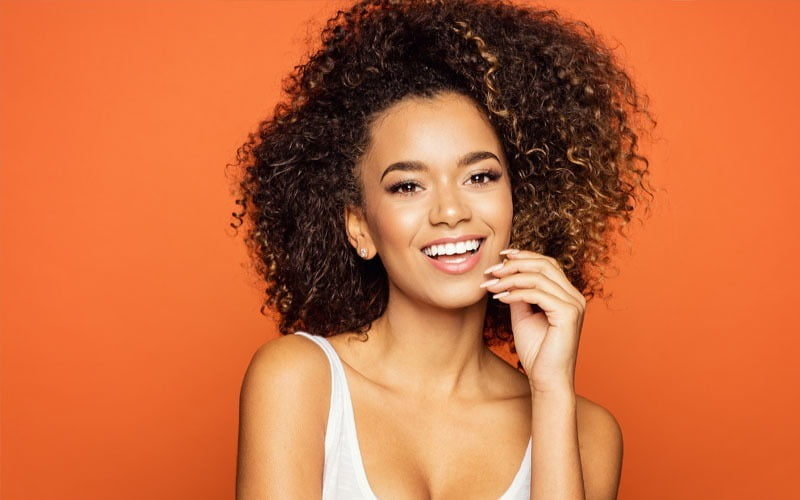woman with straight white teeth